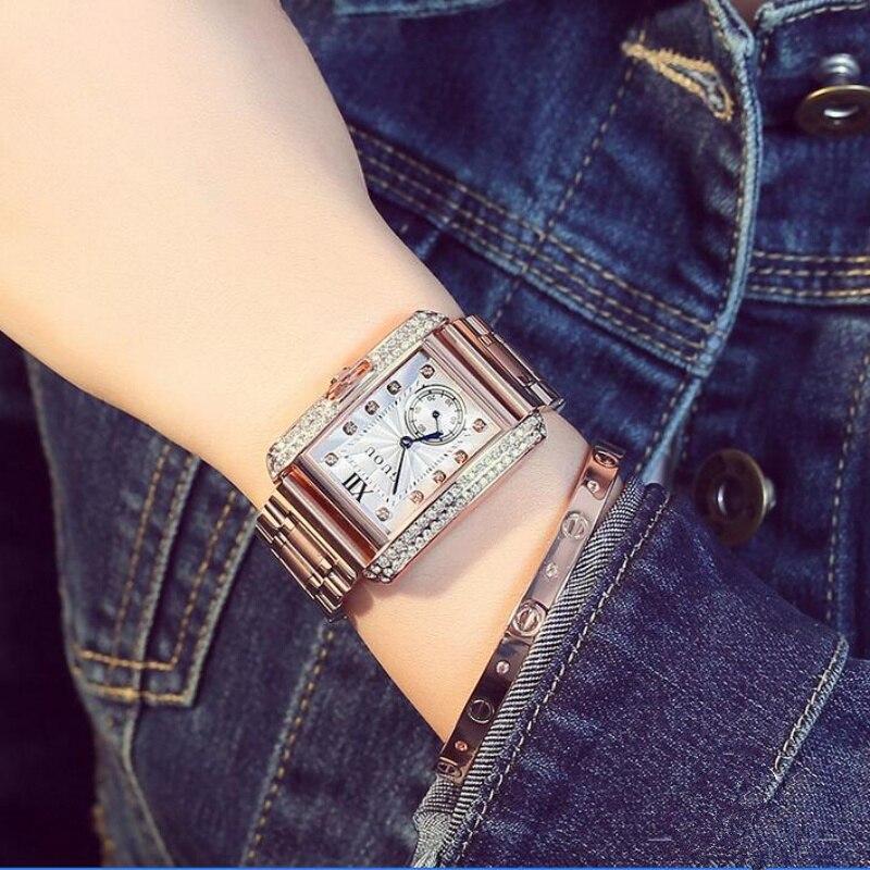 GUOU Luxury Diamond Wrist Watch Women Watches Fashion Shiny Women's Watches Rectangle Ladies Watch Clock saat relogio feminino guou relogio feminino rectangle women watch luxury brand fashion square leather quartz minimalist watches ladies dress clock