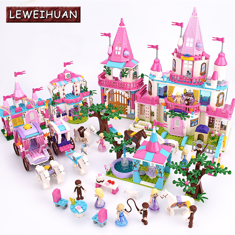 Cinderella Princess Castle City set Model Building Block DIY Toys Birthday Christmas children Gifts Compatible with Legoe hot cinderella princess castle city model building block kid educational brick toy for compatible lepins christmas children gift