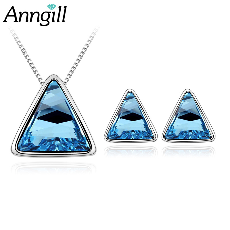 New Style Triangle Crystal From Swarovski Bridal Jewelry Sets Earrings Necklace Set Jewellery Sets For Women Party Wedding Gift все цены