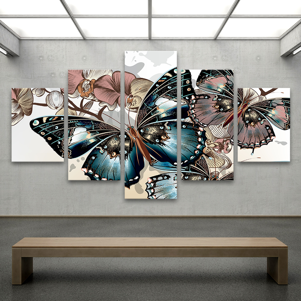 online get cheap butterfly framed art aliexpress com alibaba group qk art 5 pieces animal painting canvas art wall pictures for living room home decor butterfly