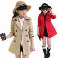 Meninas Trench Coats Double Breasted Casacos Para As Meninas Roupas Tops crianças Blusão Primavera Outono Outerwear 4 6 8 10 12 anos