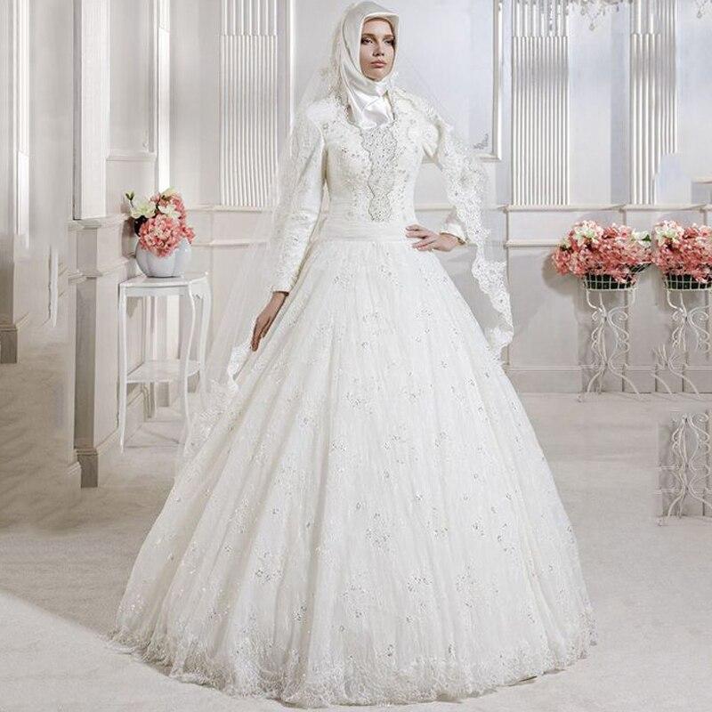 Modern Muslim Wedding Dresses Saudi Arabic Bride Gowns Beaded Romantic Formal Long Sleeves Bridal Dress In From