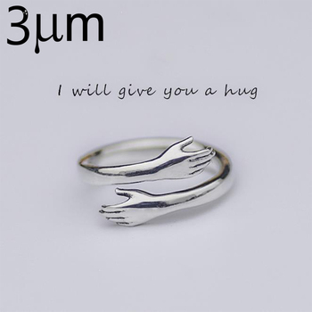 BALMORA Solid 925 Sterling Silver Arm Hug Open Rings for Women Men Gift Ring Simple Fashion Jewelry SY22036
