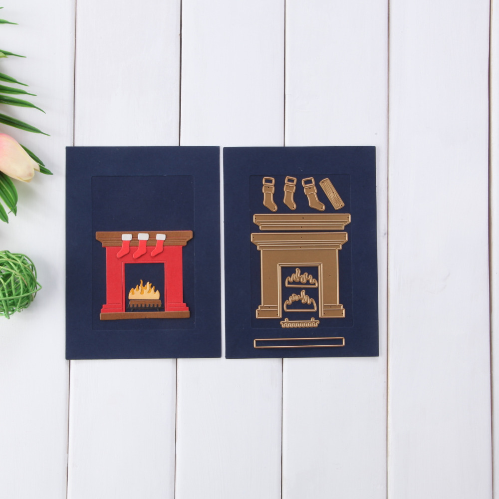 82.5*73mm Christmas House Set Metal Cutting Die Scrapbooking Embossing Stencil Card Die For DIY Invitation Album Book Decoration