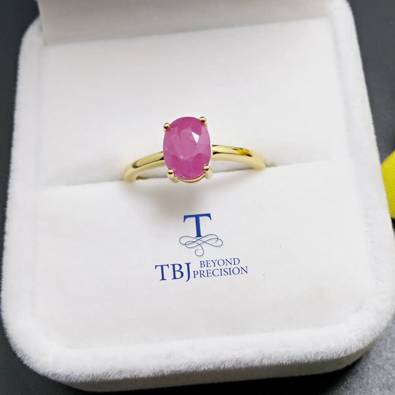 TBJ 100 natural real Ruby gemstone Ring in 925 sterling silver yellow gold fine jewelry color
