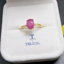 TBJ,100% 천연 진짜 루비 보석 반지 선물 상자와 여성을위한 925 스털링 실버 옐로우 골드 고급 보석 색상