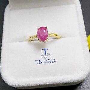 Image 1 - TBJ,100% naturalny prawdziwy rubinowy kamień pierścień w 925 sterling silver yellow gold fine kolor biżuterii dla kobiet z szkatułce