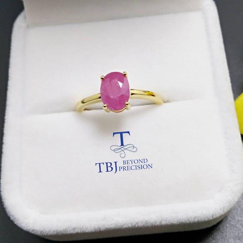 TBJ,100% naturel véritable rubis bague en argent sterling 925 or jaune bijoux fins couleur pour les femmes avec boîte-cadeau