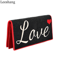 Leeshang Stingray Leather Purse Women Wallets Genuine Leather Brand Long Wallet Women Clutch Ladies Stingray Day Clutches Purses