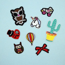 1PC Fabric Embroidered Owl Bow Patches Clothes Stickers Bag Sew Iron On Applique DIY Apparel Sewing Clothing Accessories BU22