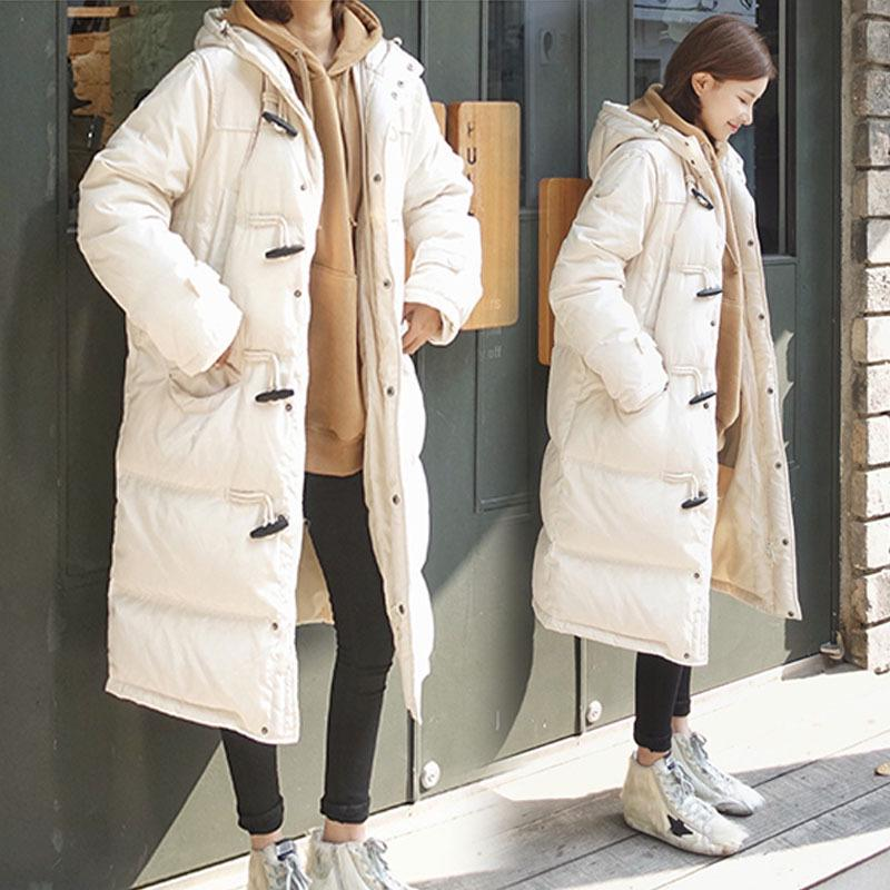 Long Section Horn Buckle Cotton Padded Coat Women Winter Student Hooded Warm Puffer Service Pregnancy Jacket Maternity Outerwear new fashion winter cotton padded jacket women hooded long sections cotton coat slim waist warm outerwear female pw0146