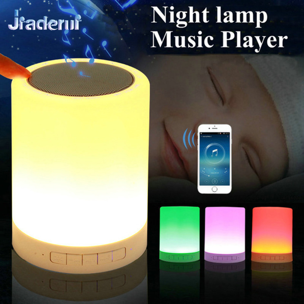 Jiaderui LED Baby Night Light USB Touch Sensor with Smart Bluetooth Speaker Dimmable Color Table Bedside Lamp Kids Children Gift