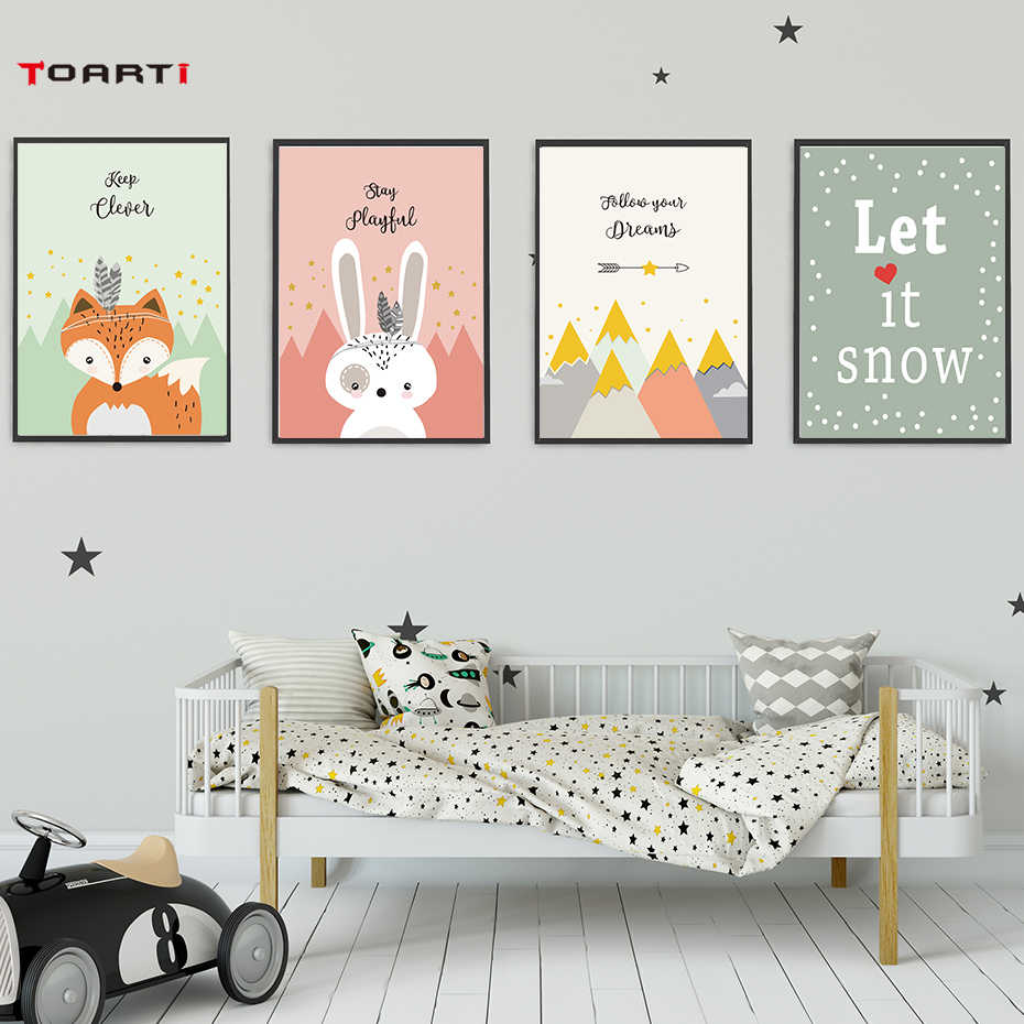 Tribe Woodland Animal Art Canvas Painting Poster And Prints Cartoon Rabbit Bear Wall Picture For Baby Kid Bedroom Home Decor