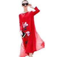 2018 Spring New Women Printed Dress Casual Vintage Dresses Female High Quality Cotton Robe Elegant Women's Dress Large Size