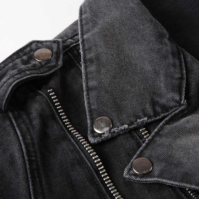Sokotoo Men's zippers black denim jean biker jacket for motorcycle Vintage epaulet holes ripped distressed coat