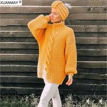 Suéter de las mujeres de mano suéter de punto de mujer elegante de mano  larga de punto jersey suéter grueso mujer grueso suéter 6cc998dfbe2df