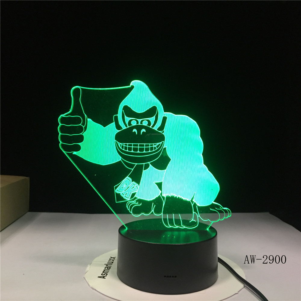 Monkey Night Light LED Cute Animal 3D Visual Creative Acrylic 7 Color Gradient USB Desk Lamp Kids Holiday Gifts Dropship AW-2900