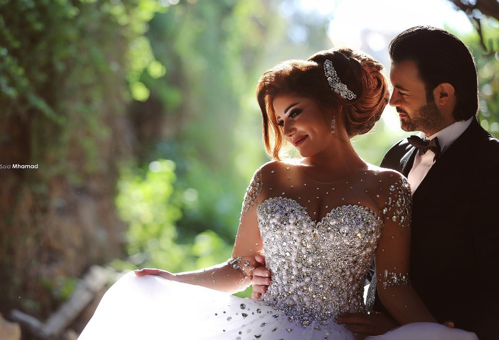 2019 Vestidos De Novia Long Ball Gown Crystal Beading Tulle Wedding Dresses Full Sleeve Bridal Dress Lace Up Custom Made ZY3249