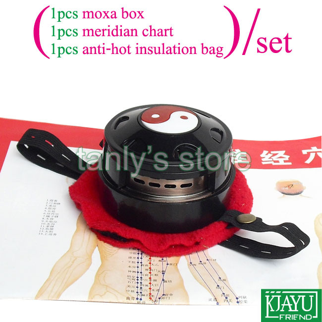 Good quality! wholesale and retail muitifunction portable body moxibustion device moxa box health product gift meridian chart new type ears moxibustion device 2 pieces moxa box 1piece cloth bag set health product gift chart