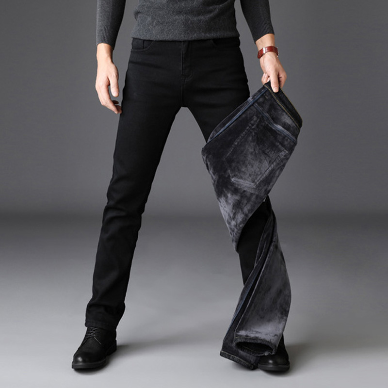 2018 Winter Jeans Men Black Color Slim Fit Stretch Thick Velvet Pants Warm Jeans For Men Fashion Casual Fleece Trousers Male