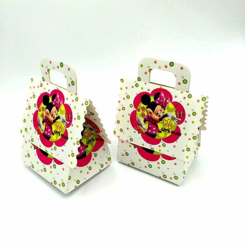 6 шт. Минни Мышь коробки конфет Детские вечерние сувениры школьные сумки Минни Мышь конфеты день рождения поставки