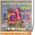 100% IPX8 Waterproof MP3 Player 16GB Sports Mp3/ swimming/ Running/ Surf / FM Radio MP3 headphone Player Free Shipping
