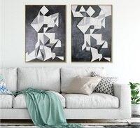 북유럽 현대 흑백 형상 2 개 추상 회화 거실 장식 벽 인쇄 사진 프레임이없는