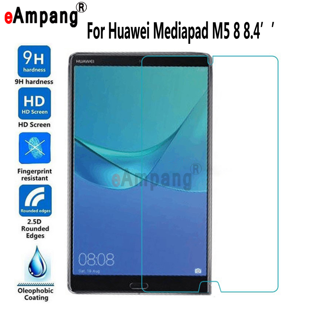 Tempered Glass for Huawei Mediapad M5 8 8.4 inch Transparent Screen Film Tablet Screen Protector for Huawei Mediapad M5 8 8.4 premium tempered glass flat edge screen protector for iphone 5 transparent