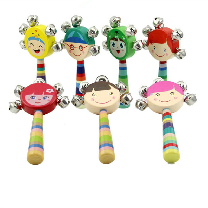 3pcs/set Baby Hand bells Wooden Toys Baby Cartoon Toy Multicolor 5pcs Bells Suitable for 0-12 Months Toys Education Toys 14cm