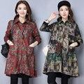 Весна 2017 Новый Плюс Размер Мода Пальто С Длинным Рукавом Блузки Кардиган Женщина Средних Лет Пальто Куртки Тонкий Плащ 6017
