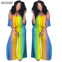 Bohemian Style Dashiki Loose Ruffles Crop Top Palozzo Pants Two Piece Set Sexy Vintage Gradient Color Tie Dye Print Overalls