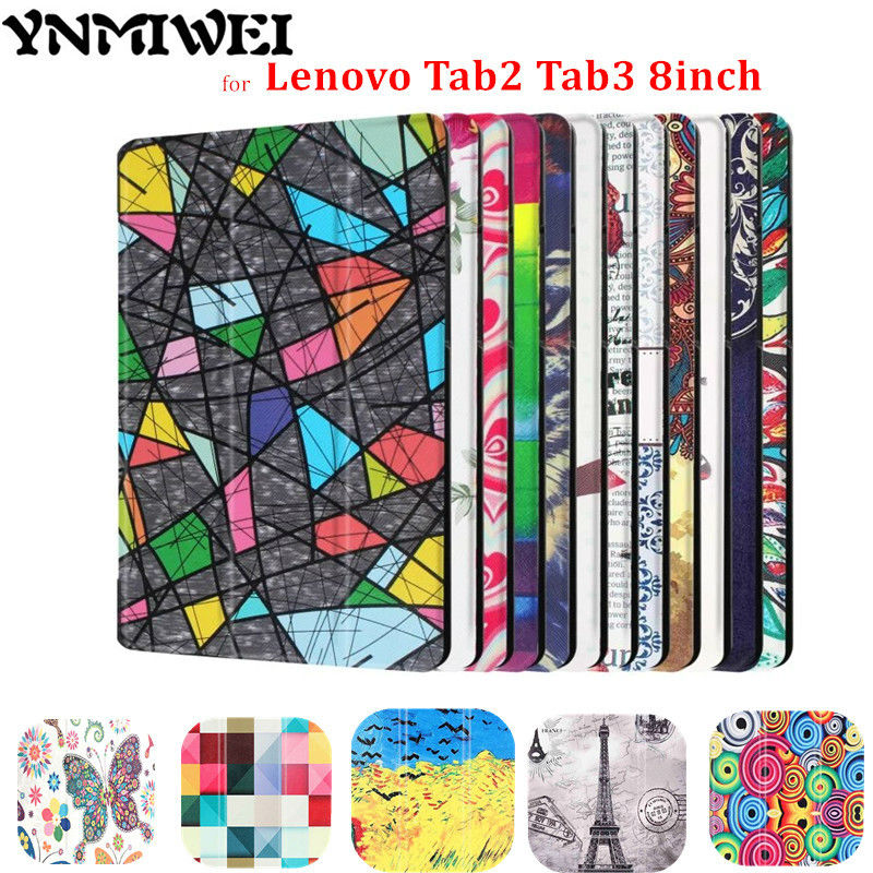 YNMIWEI Tab3 8 inch TaB3 850M 850F Tablet Case For Lenovo Tab <font><b>2</b></font> A8-<font><b>50</b></font> A8-50F A8-50LC Leather Cover Colorfull print Magnet image