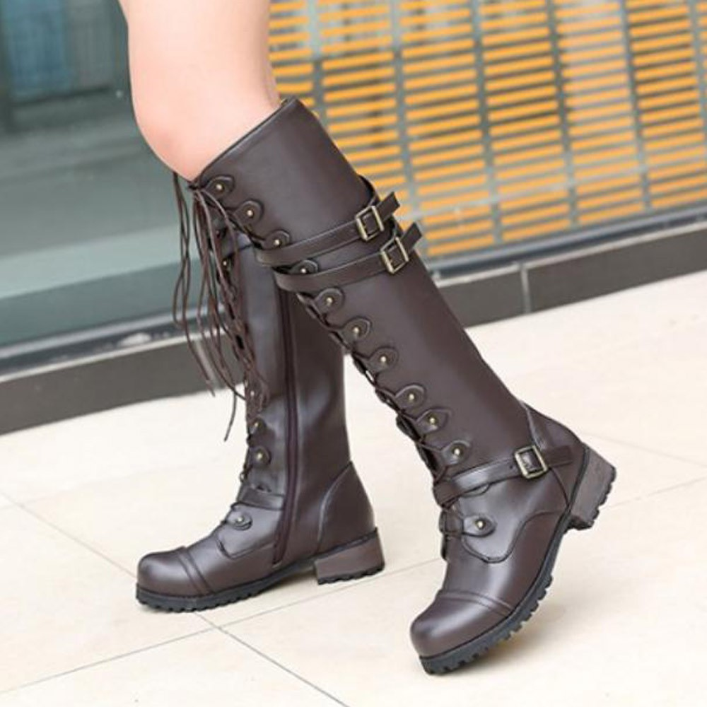 Women Motorcycle Combat Over Knee Thigh High Boots block Heels Buckle Shoes 000