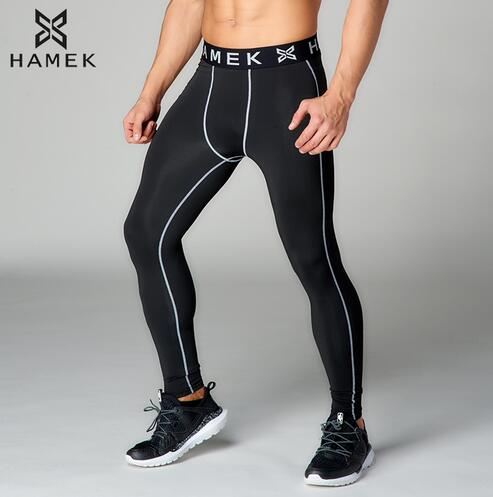 2017 New High Quality Anti-Sweat Long Gray Line Sport Running Pants Leggings Fitness Compression Apparel Men's Running Tights