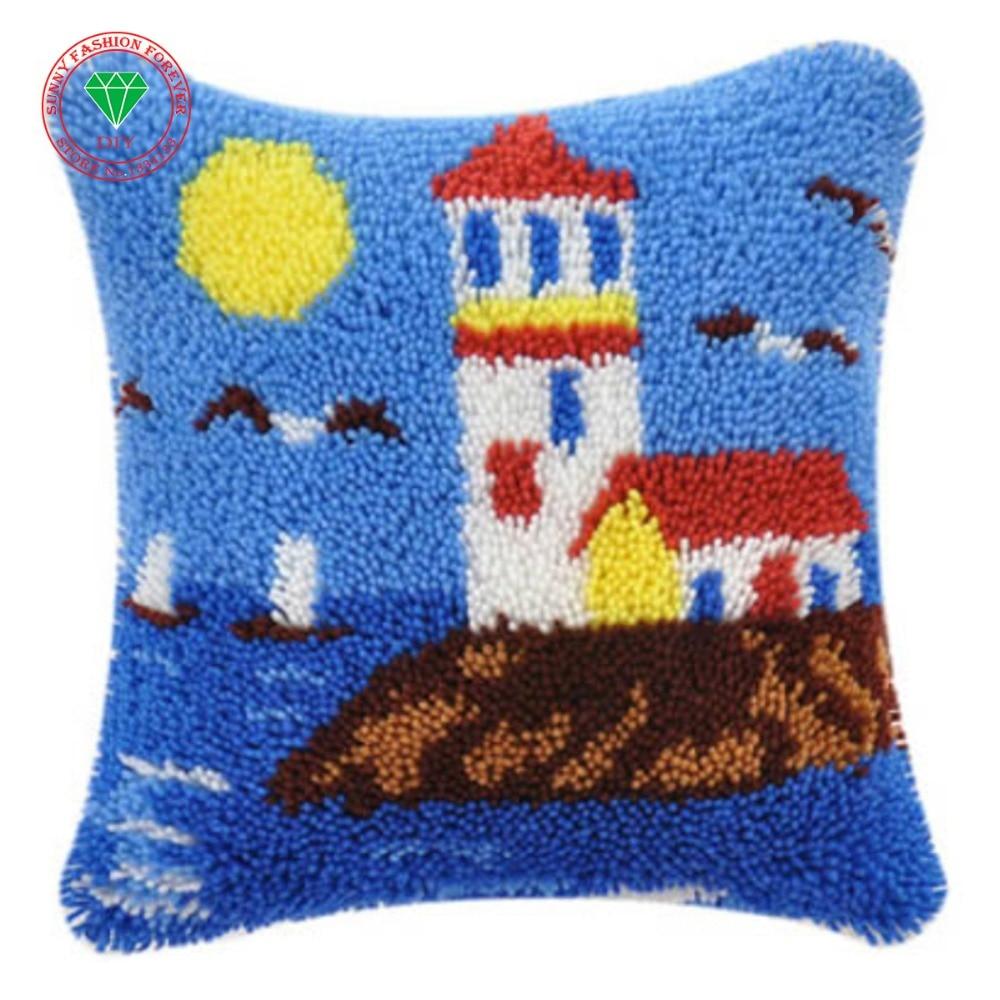 Landscape Lighthouse Needlework Pillowcase Sets Embroidery Stitch Thread Latch Hook Rug Kits Crochet Hooks Cross-stitch Cushion