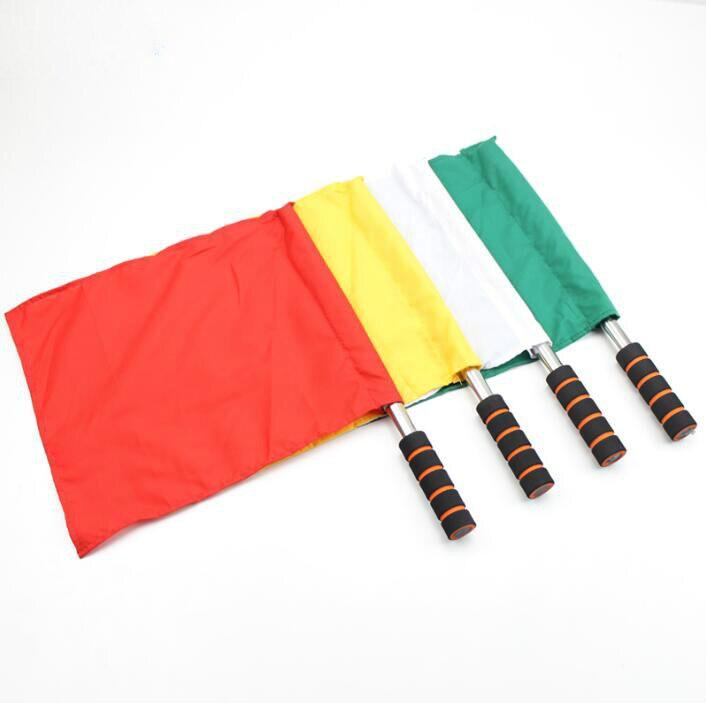 1 шт. судья флага Флаг сигнала соревнования по легкой атлетике сигнала флаг из нержавеющей стали команда флаг Футбол Судья Флага LYQ