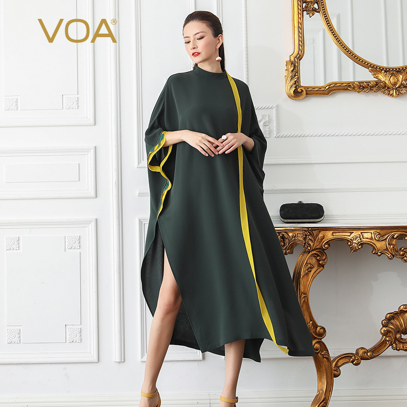 VOA Heavy Silk Plus Size 5XL Loose Robe Dresses Women Long Dress Muslim Casual Basic Sexy Split Bat Sleeve Irregular Summer B507