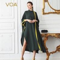 VOA Heavy Silk Plus Size 5XL Loose Robe Dresses Women Long Dress Muslim Casual Basic Sexy Split Bat Sleeve Irregular Summer B507