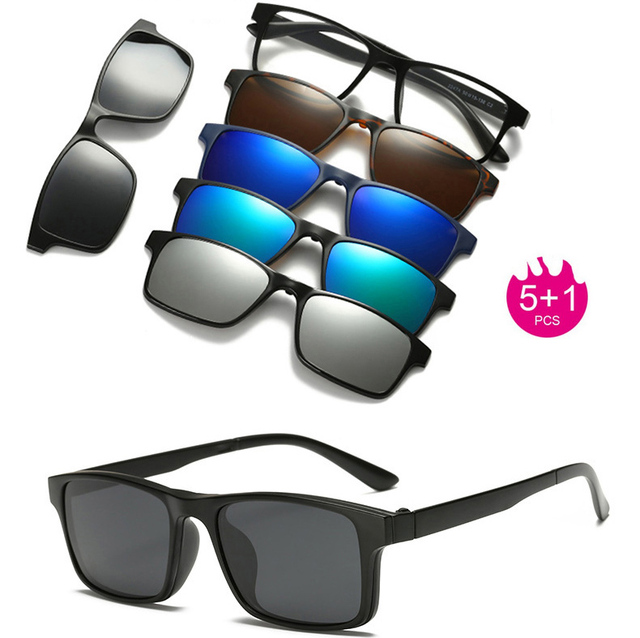 7f8bb1c992cd Spectacle Frame Eyeglasses Men Women With 5 clip on Polarized Sunglasses  Magnetic Adsorbent For Male Eye Glasses clip 5