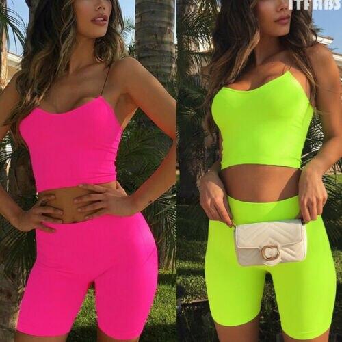 017ab93ea52a 2019 Newest Fashion Hot Sexy Charming Wholesale 2Pcs Summer Women Tracksuit Tank  top Short Pant Casual Jogging Sportwear Suit ~ Hot Sale July 2019