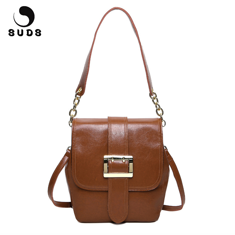 SUDS Brand Women Vintage Genuine Leather Shoulder Bags 100% Cow Leather Small Women Messenger Bags Female High Quality Flap Bags suds brand women casual 100