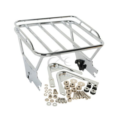 Two Up Luggage Rack & Docking Hardware Chrome For Harley Touring Road King Electra Glide FLHX FLTR FLHT 97-08 Free Shipping motorcycle chrome luggage rack for harley touring road king street glide cvo road glide street electra glide flhr 2009 2017 16