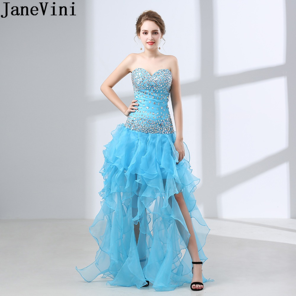 JaneVini Sparkly Crystal Blue   Prom     Dress   Woman 2019 High Low Long Gala Formal Party Gowns Beaded Backless Special Occasion   Dress