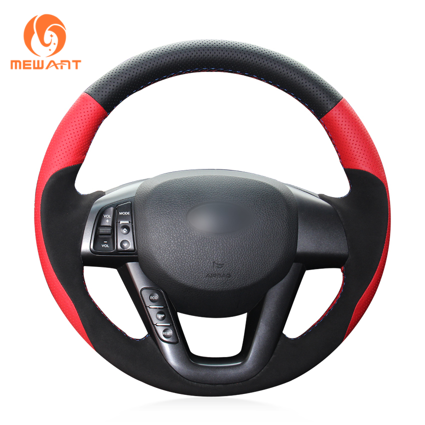 MEWANT Black Suede Genuine Leather Car Steering Wheel Cover for Kia K5 2011 2012 2013 Kia Optima high quality chrome head light cover for kia optima k5 2011 free shipping
