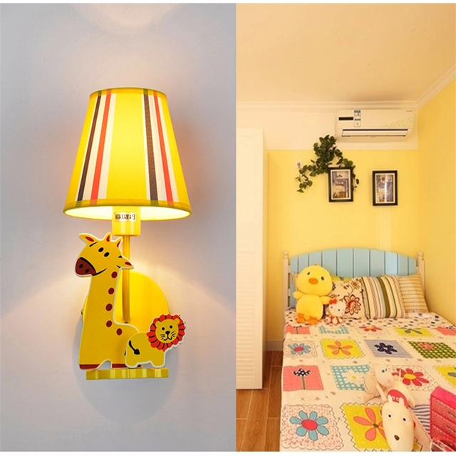 Children S Room Wall Lamp Cartoon Boys Bedroom Bedside Giraffe Lion Lights Eye Protection