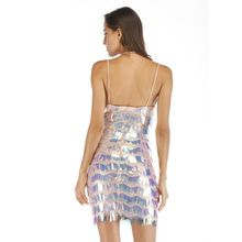 Womens Sleeveless Cocktail Party Mini Bodycon Dress Reflective Glitter Sequins Tiered Tassels Deep V-Neck Criss Cross Halter Str