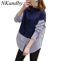 2016 New 5XL 4XL 3XL Autumn Women Loose Stand Collar Long Sleeve Striped Patchwork Plus Size