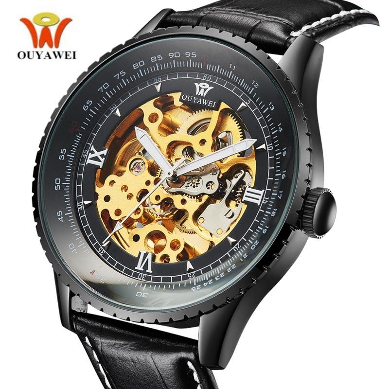 OUYAWEI Luksoze Artë Lëkurë Lëkurë Lëkurë Skeleti Watch - Ora për meshkuj