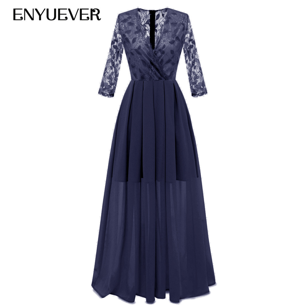 Enyuever Elegant Ladies Dresses V Neck Sleeve Lace Chiffon Vestido Maxi Long Wedding Party Dresses Women Evening Formal Dress