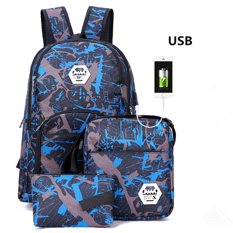 3pcs/set USB Male backpacks Camouflage schoolbags for middle school boys girls High quality nylon school bags travel backpack